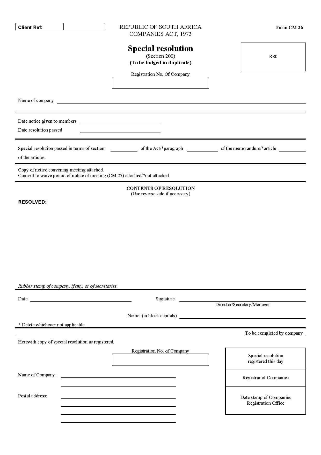 Dorable corporate resolution form model simple resume for Company resolution template