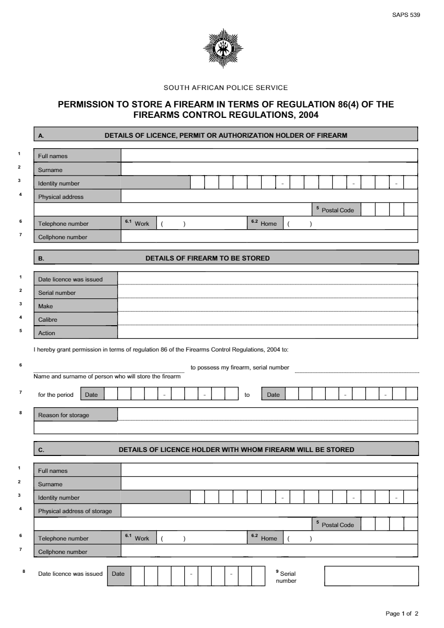 Download Permission To Store Firearm SAPS 539 Form - FormFactory