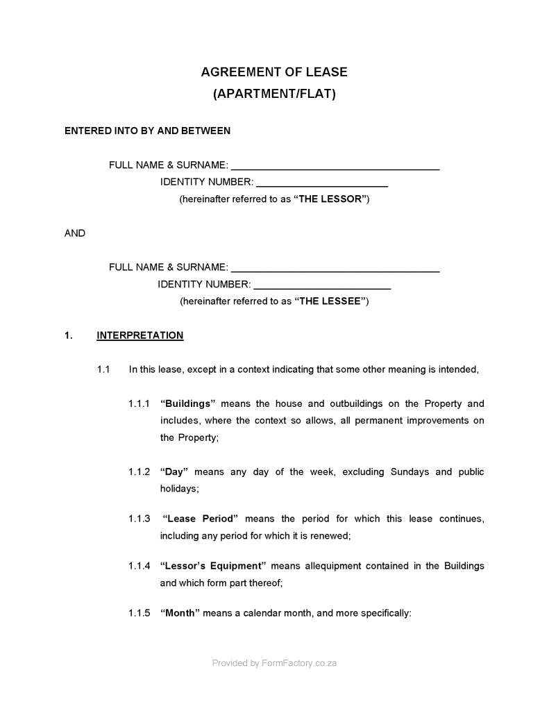 Equipment Lease Agreement Template South Africa Download Residential Lease Agreement Template Formfactory