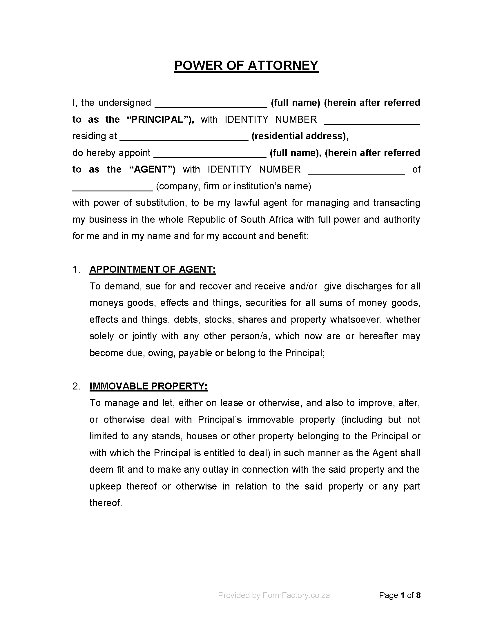 Download special power of attorney form formfactory for Special power of attorney template free