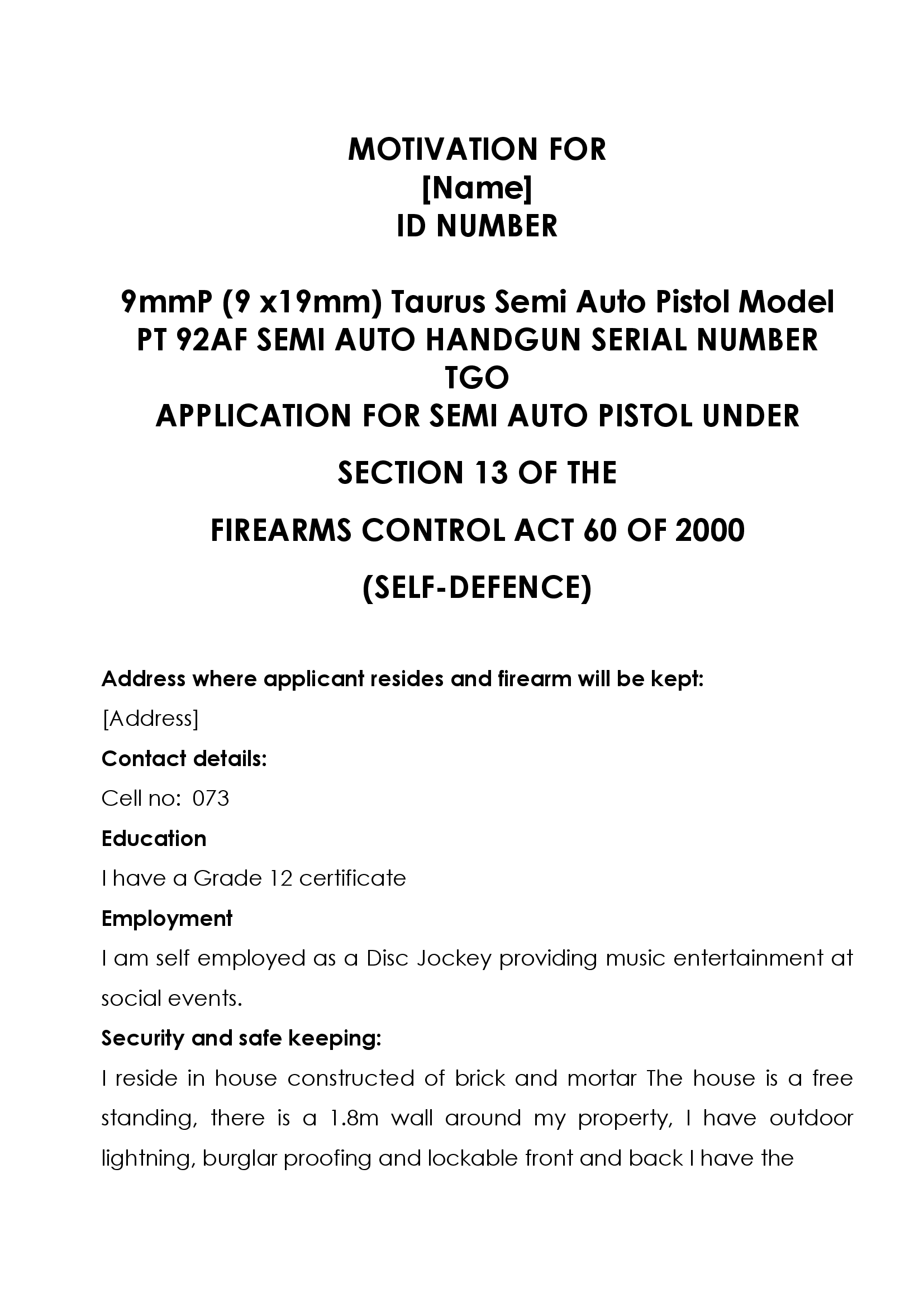 download firearm licence motivation form formfactory