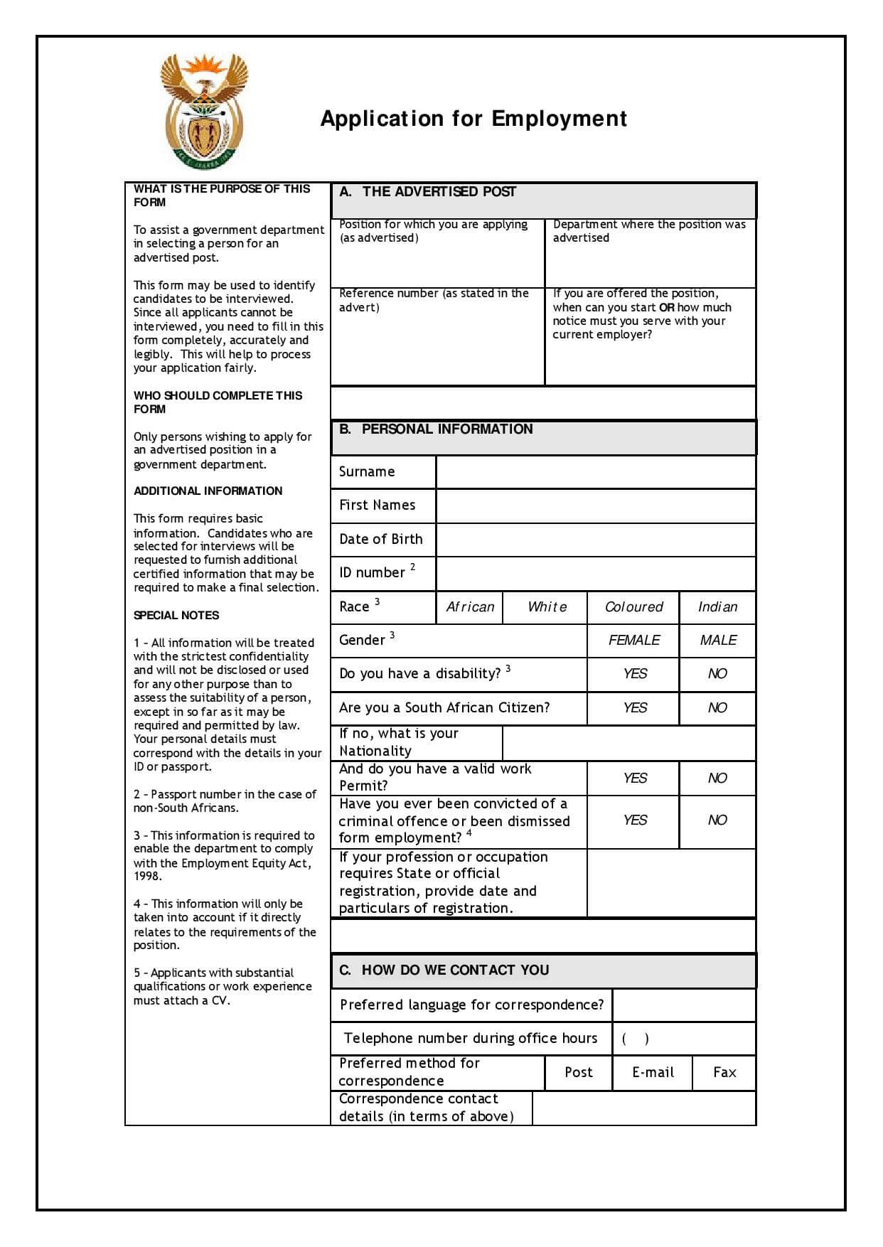 Download Z83 Form Application For Employment Formfactory